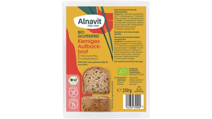 Alnavit Bio Kräftiges Aufbackbrot - glutenfrei