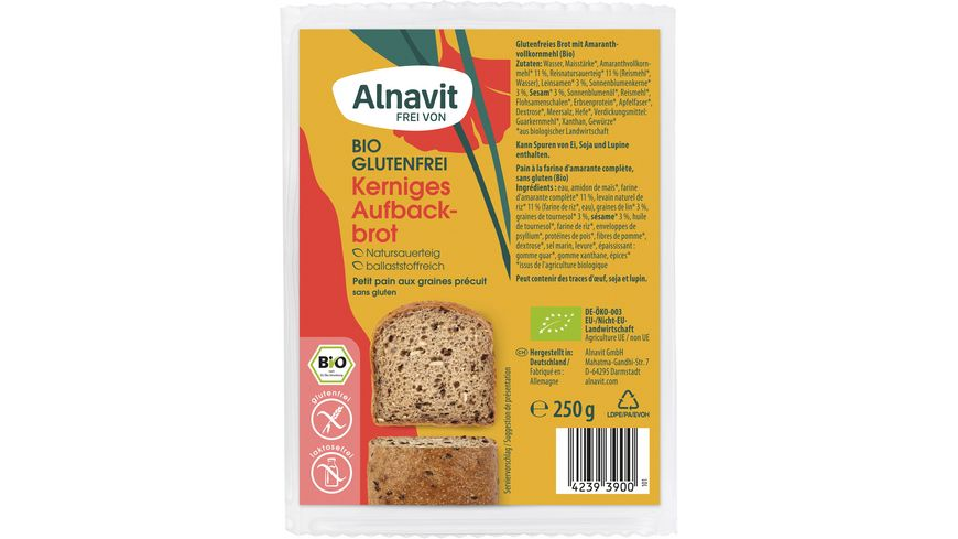 Alnavit Bio Kraeftiges Aufbackbrot