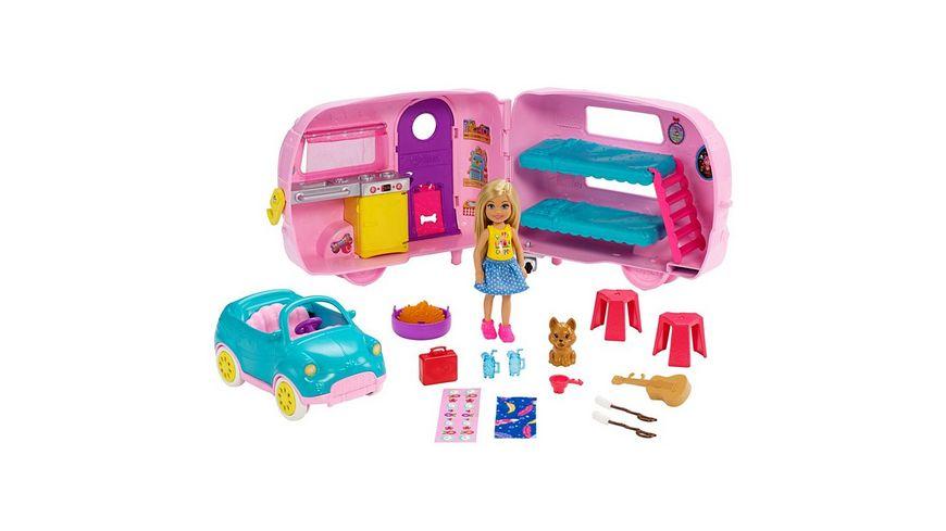 Barbie Chelsea Camper Spielset mit Puppe (blond) und Hund, Anziehpuppe
