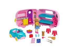 Barbie Chelsea Camper Spielset mit Puppe blond und Hund Anziehpuppe