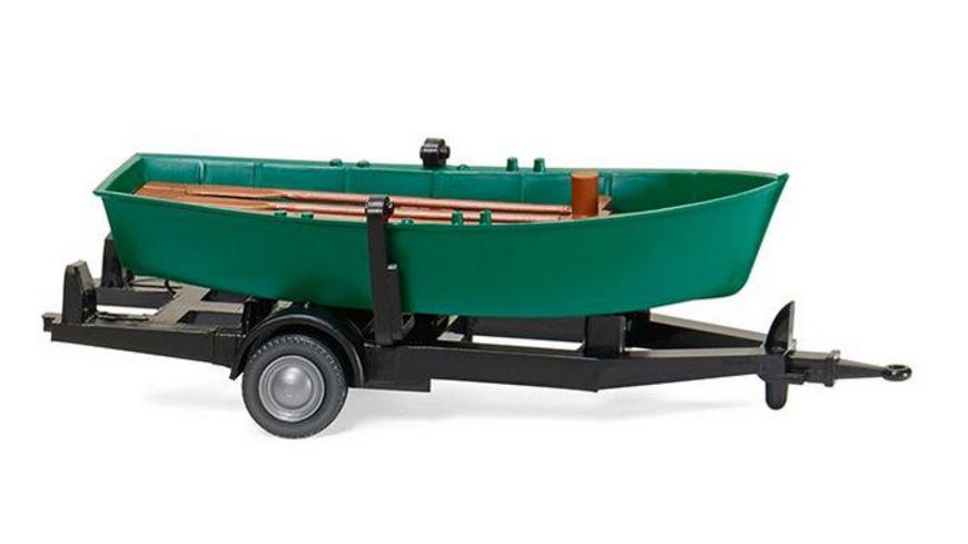 Wiking 009401 1 87 Ruderboot auf Anhaenger tuerkisgruen