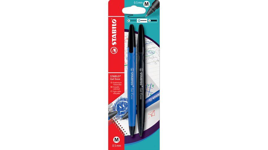 STABILO Gelschreiber Gel Exxx im 2er Set blau und schwarz radierbar
