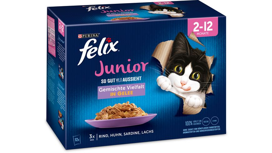 felix Katzennassfutter So gut wie es aussieht in Gelee Junior gemischte Vielfalt 12x85g