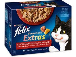 felix Katzennassfutter Sensations Extras in Gelee Geschmacksvielfalt vom Land 12x85g