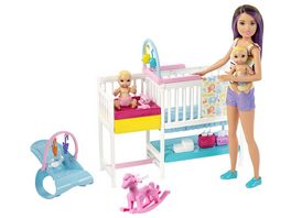 Barbie Skipper Babysitter Puppe bruenett Kinderzimmer Spielset mit Baby Puppen