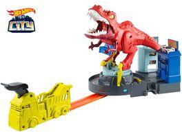 Hot Wheels T Rex Attacke motorisiertes Spielset inkl 1 Spielzeugauto und Soundeffekten