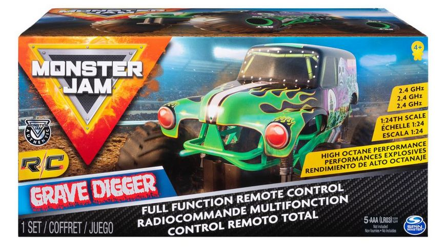 Spin Master Monster Jam Official Grave Digger Remote Control Monster Truck 1 24 Scale 2 4 GHz