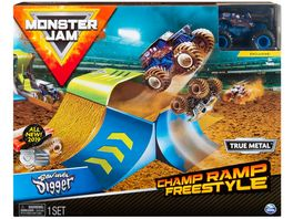 Spin Master Monster Jam Official Champ Ramp Freestyle Playset mit 1 64 Die Cast Son uva Digger Monster Truck