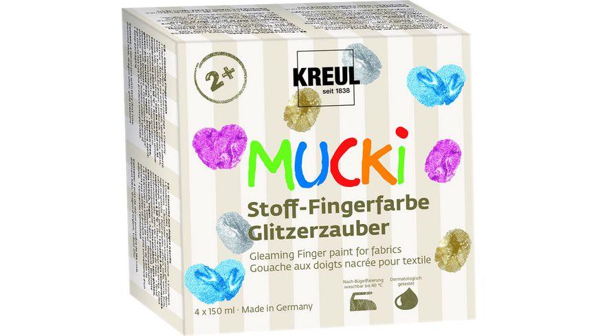 KREUL Mucki Stoff Finger Farbset Glitzer 4 x 150ml