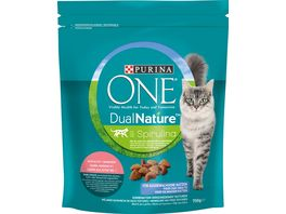Purina ONE DUAL NATURE fuer ausgewachsene Katzen Lachs mit Spirulina Katzentrockenfutter
