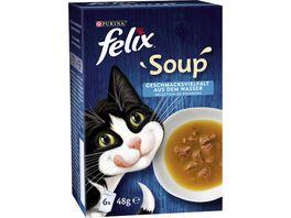 felix Katzennassfutter Soup Geschmacksvielfalt aus dem Wasser mit Kabeljau Thunfisch Scholle 6x48g