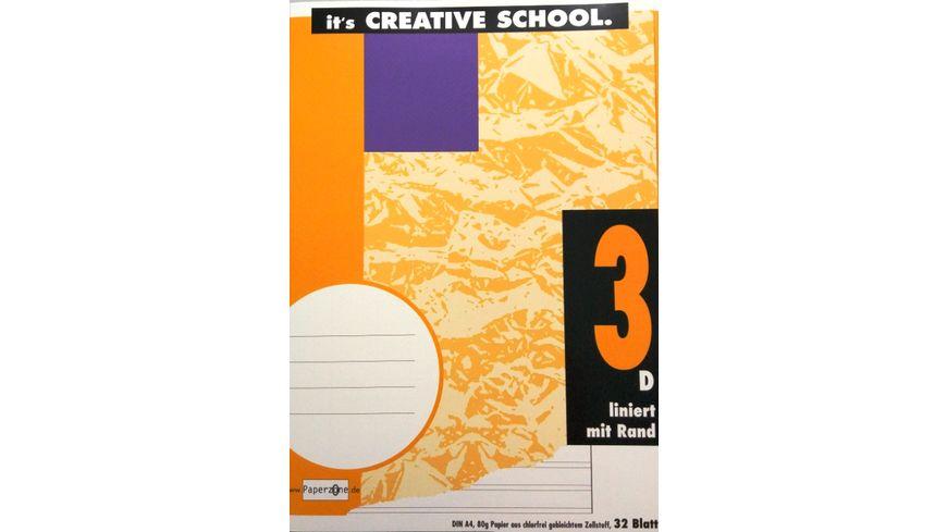 PAPERZONE Heft A4 Lineatur 3 mit Rand 32 Blatt