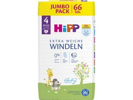 HiPP Babysanft Windeln Maxi 4 Jumbo 10 14 kg Groesse 74 92 66 St