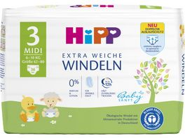 HiPP Babysanft Windeln Midi 3 6 10 kg Groesse 62 80 36 St