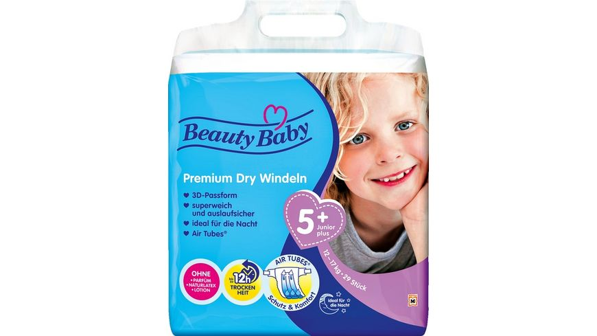 Beauty Baby Premium Dry Windeln, Größe 5+ Junior+, 12-17 kg