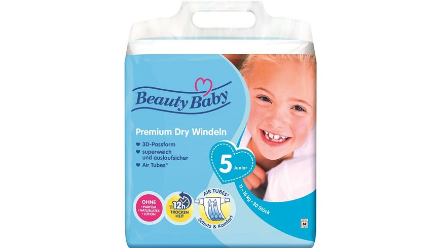 Beauty Baby Premium Dry Windeln, Größe 5 Junior, 11-16 kg