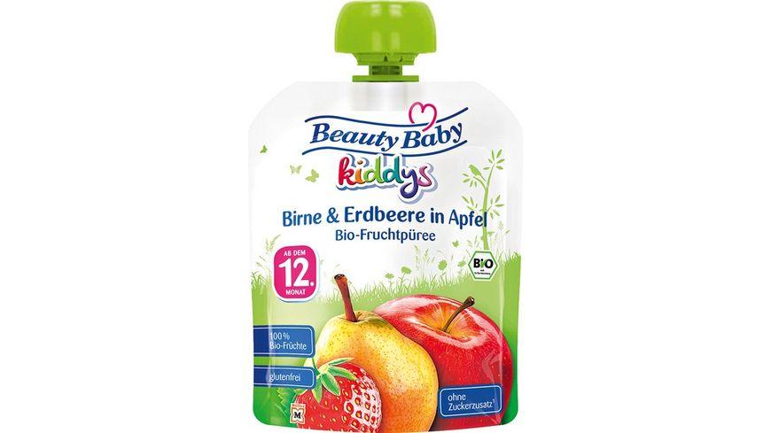 Beauty Baby kiddys Bio Fruchtpueree Birne Erdbeere in Apfel