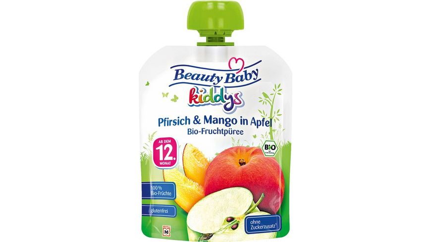 Beauty Baby Quetschie kiddys Bio- Pfirsich & Mango in Apfel