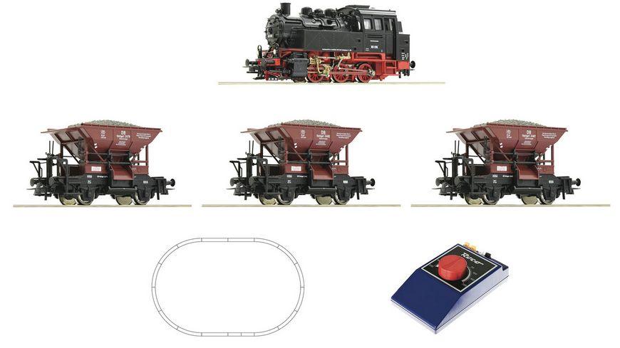 Roco 51159 Analog Start Set Dampflokomotive BR 80 mit Gueterzug DB