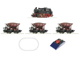Roco 51159 Analog Start Set Dampflokomotive BR 80 mit Gueterzug DB