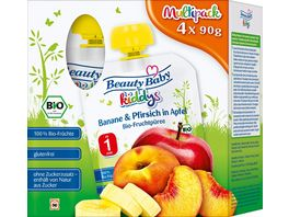 Beauty Baby kiddys Bio Fruchtpueree Multipack Banane Pfirsich in Apfel