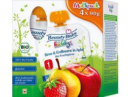 Beauty Baby kiddys Bio Fruchtpueree Multipack Birne Erdbeere in Apfel