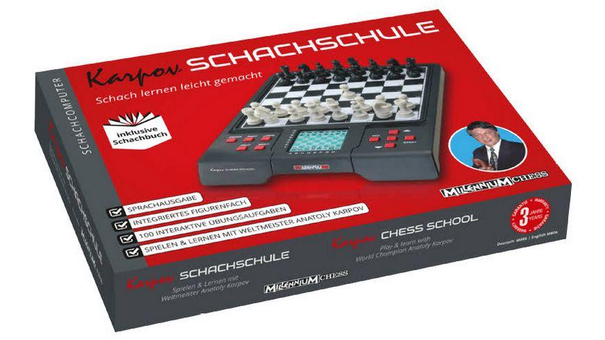 Millennium Karpov Schachschule Schachcomputer mit Lehrbuch interaktiven Uebungsaufgaben und Sprachausgabe
