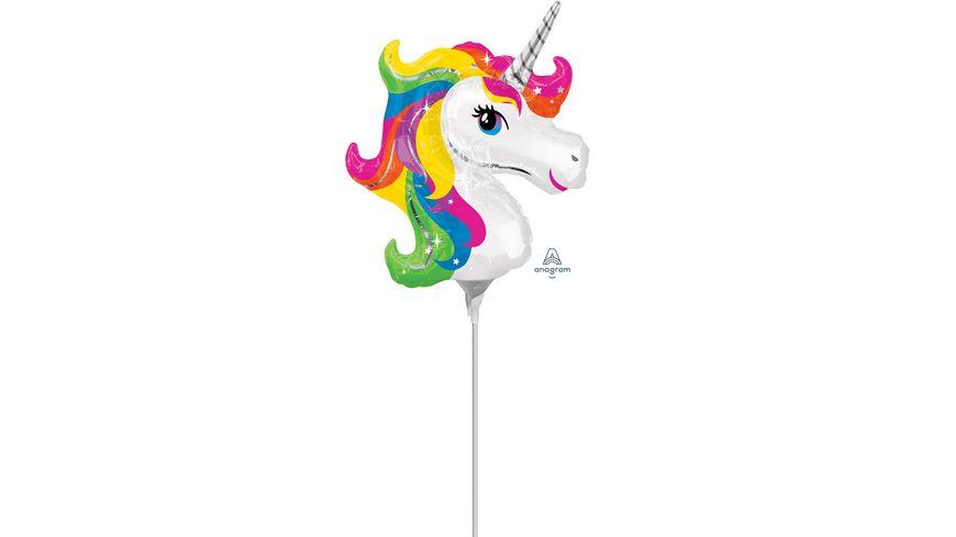 Anagram Folienballon Mini Shape Regenbogen EINHORN