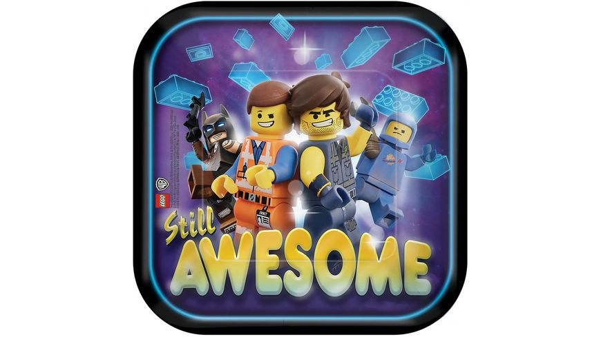 Amscan 8 Pappteller Lego Movie 2 quadratisch 17 7 x 17 7 cm