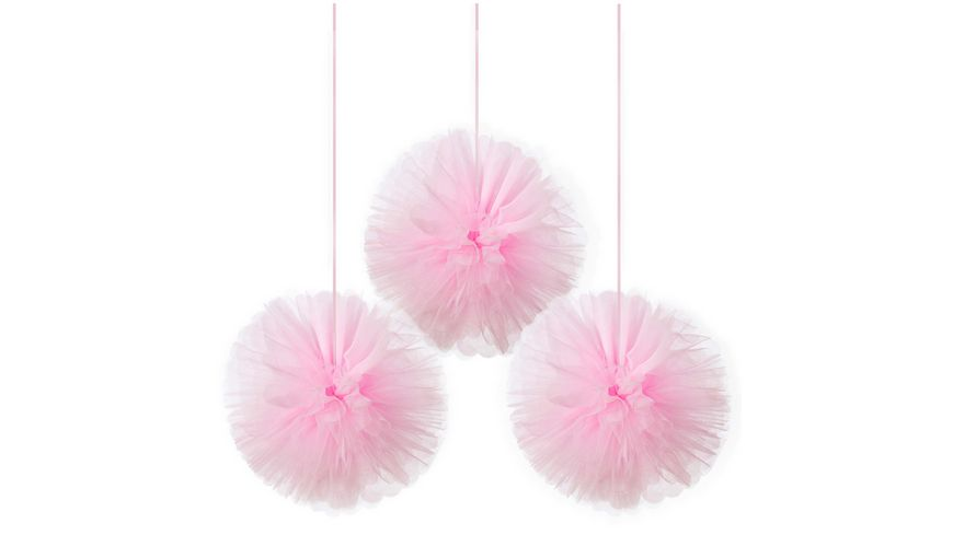 Amscan 3 Fluffy Dekobaelle Little Dancer Tulle 30 4 cm