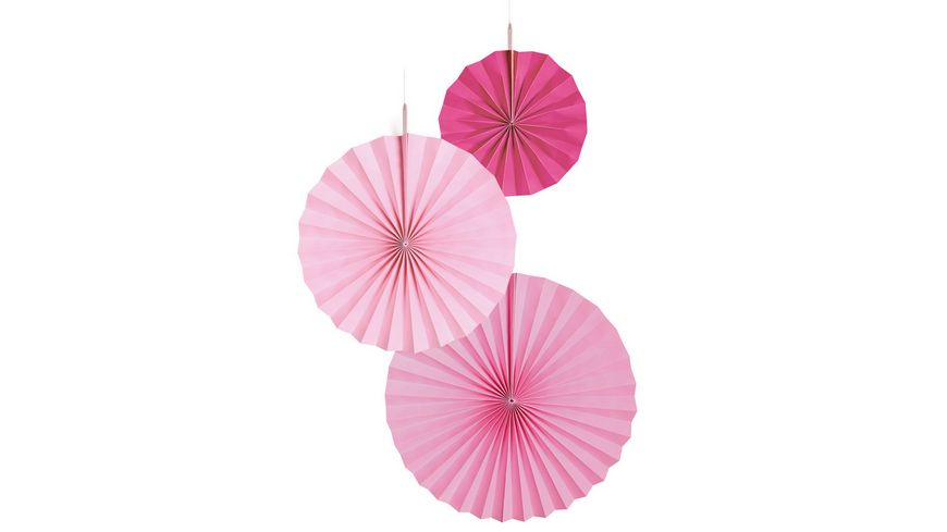 Amscan 3 Fan Decorations Hot Pink Paper 18 cm 30 cm 38 cm