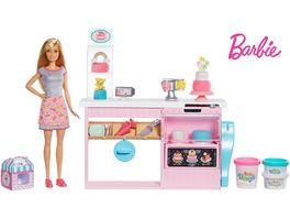 Barbie Tortenbaeckerei Spielset mit Puppe blond und Knete Barbie Baeckerin