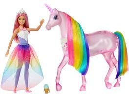 Barbie Dreamtopia Magisches Zauberlicht Einhorn mit Puppe Licht Geraeuschen