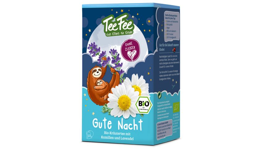 TeeFee Bio Gute Nacht Kraeutertee mit Kamille