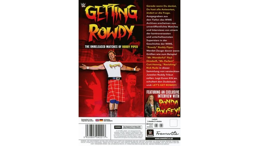Getting Rowdy The Unreleased Matches Of Roddy Piper 2 DVDs
