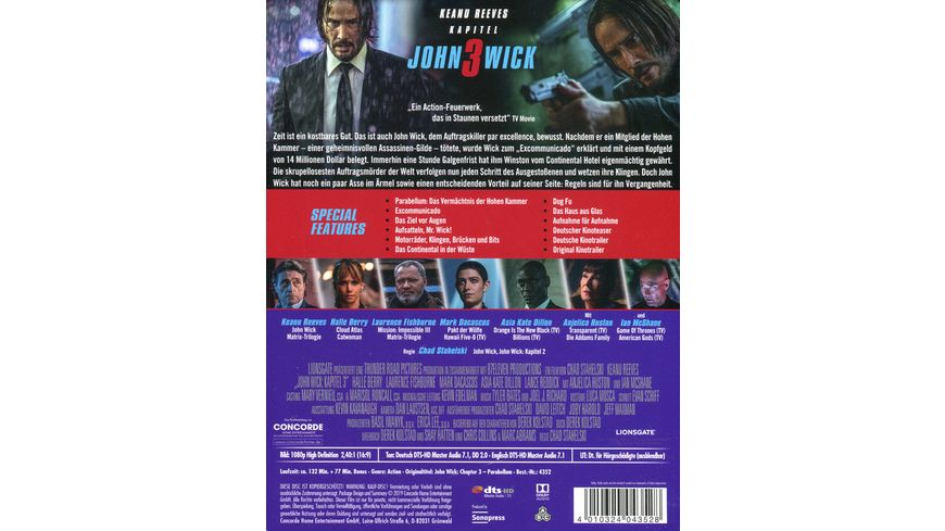 John Wick Kapitel 3 Limited Blu ray Edition im Steelbook