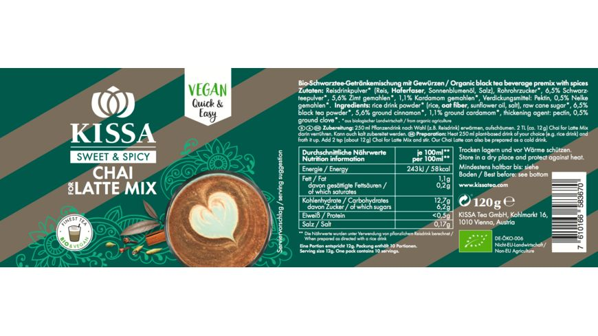 KISSA Tea Bio Chai For Latte Mix