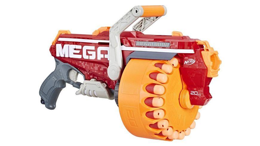 Hasbro Nerf Megalodon Nerf N Strike Mega Blaster mit 20 Nerf Mega Whistler Darts