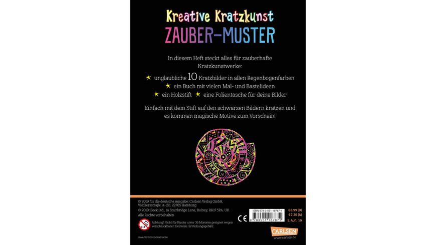 Kreative Kratzkunst Zauber Muster Set mit 10 Kratzbildern Anleitungsbuch und Holzstift