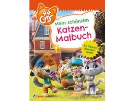 44 Cats 44 Cats Mein schoenstes Katzen Malbuch 80 Seiten Ausmalspass
