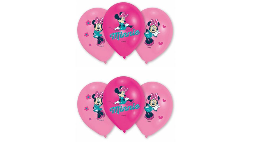 Amscan 6 Latex Balloons Minnie 4 Colour Print 27 5 cm