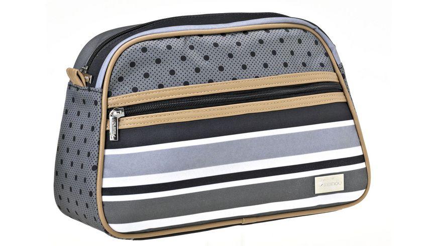 Kulturtasche grau mit Punkt und Streifenmuster