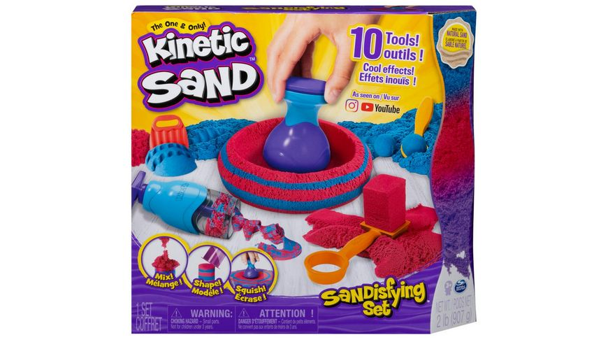 Spin Master Kinetic Sand Sandisfying Set mit 907 g Sand und 10 Werkzeugen fuer Kinder ab 3 Jahren
