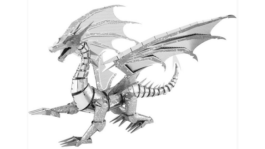 Metal Earth 502820 Iconx Silver Dragon