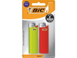 BIC Maxi Reibrad Feuerzeuge Verschiedene Farben 2er Pack