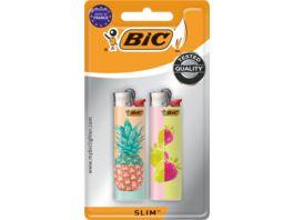 BIC Slim Reibradfeuerzeuge verschiedene Motive 2er Pack