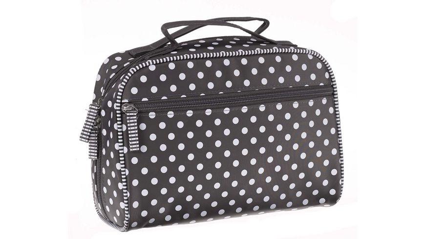 Koffer grau mit Punkten und Streifen