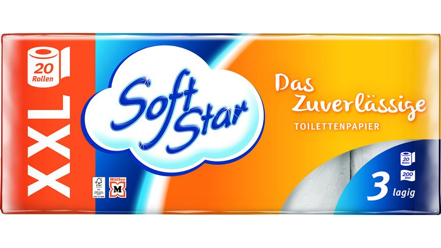 Softstar Toilettenpapier 20x200 Blatt 3 lagig