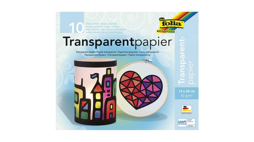 folia Transparentpapierheft 14 x 20cm 10 Blatt farblich sortiert
