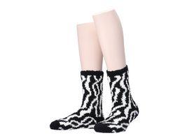MOVE UP Damen Kuschelsocken Zebra